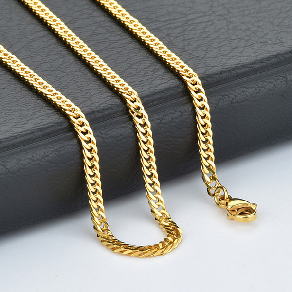 50pcs 4mm High Quality Gold Color Stainless Steel Men Boy's Curb link Chain Necklace suit for Pendant 18