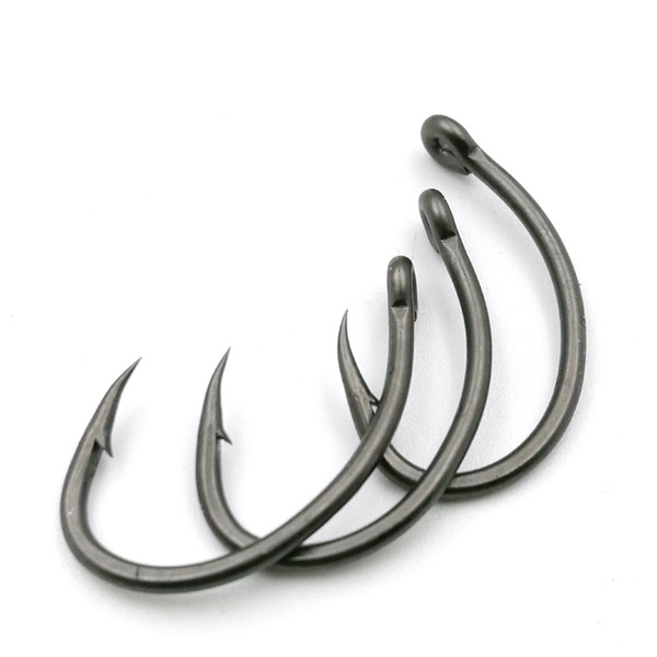 60pcs Carp fishing teflon coating eyed Yn hooks Crank Barbed High carbon steel made in japan matte black barbed hook