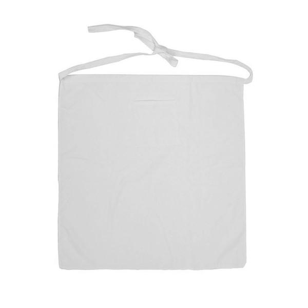 Kitchen Ware Chef Half Bistro Apron with Center Divide Pocket-White