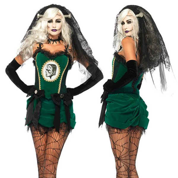 High Quality Halloween Ghost Bride plays Terrorist Terrible Adult Lady Costume Masquerade Green Dress Vampire Skeletons Game Cos