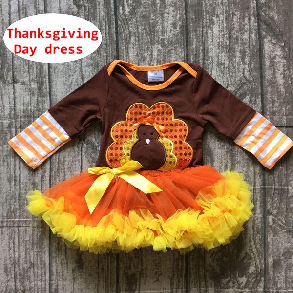 Baby Thanksgiving Day Romper dress Newborn Girl sequin turkey Autumn dress Toddler Long sleeve party tutu dress