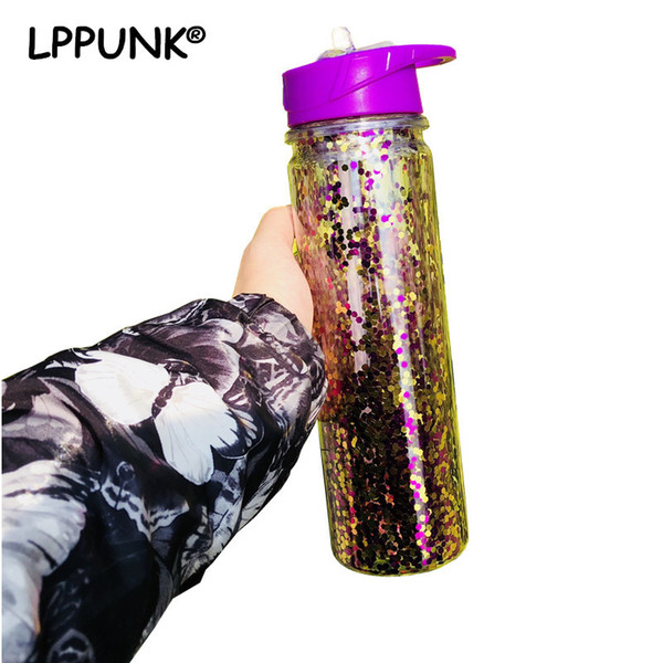 2018 New 500ML Double Wall Plastic Sports outdoor my water bottle Sequins gold Stardust Portabel straw kettle with handle C18110301