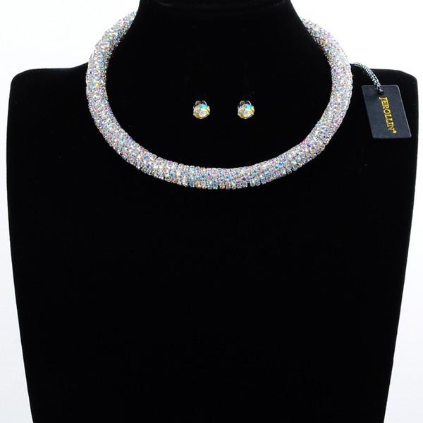 Joyería de moda 13 colores cristalinas nupciales conjuntos de la joyería de la boda Diamantes de imitación de la gota de agua granos africanos conjuntos de collar para el partido