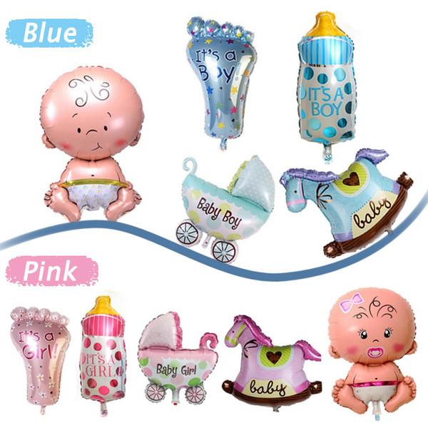 5 Pz / set Boy Girl Baby Shower Foil Giant Battesimo Super forma palloncini Decorazione del partito Bambini # 87431