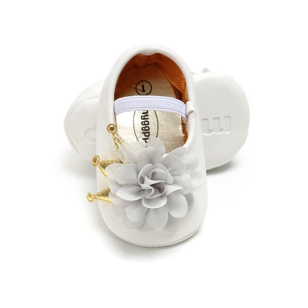 Crown Big Flower Newborn PU Leather baby moccasins baby girls Princess Mary Jane shoes Soft Soled Anti-slip Shoe