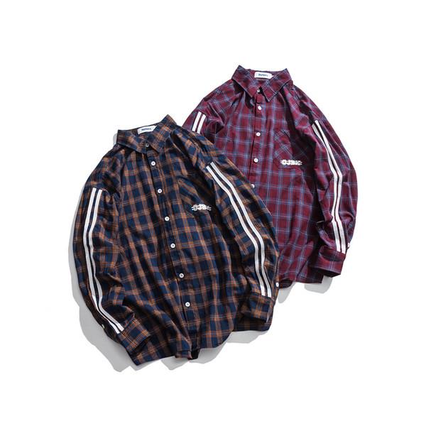 Fashion Men 2018 Long Sleeve Plaid Shirts Brand Sleeve Striped Korean Casual Cotton Hip Hop Shirts College Vintage Brand
