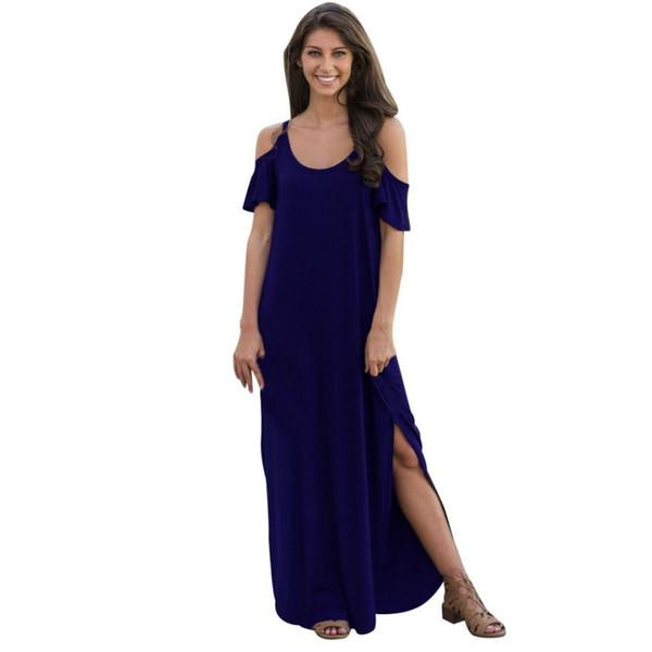 Vestito lungo da donna a manica corta con maniche lunghe a maniche lunghe, vestibilità comoda