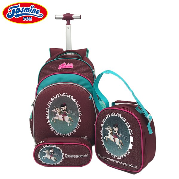 JASMINESTAR 3PCS Trolley School Bags Girl Cartoon Backpacks Kids Satchel Luggage Large Capacity Wheeled School Bags For Girls