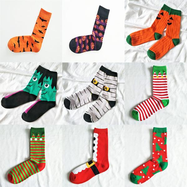 19 Arten Weihnachten Halloween Socken Kinder Erwachsene Weihnachten Kürbis Weihnachtsmann Druck Socken Baumwolle Unisex Mid Rohr Socken C5117