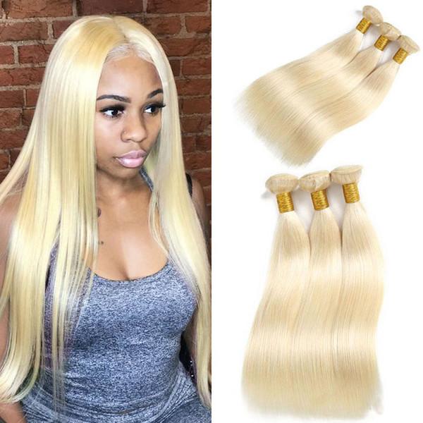 "Brazilian Hair Weave Bundles Straight Blonde Human Hair 613 Bundles Hair Extension Can Buy 3 Bundles Straight Remy Wefts 8""-26"""