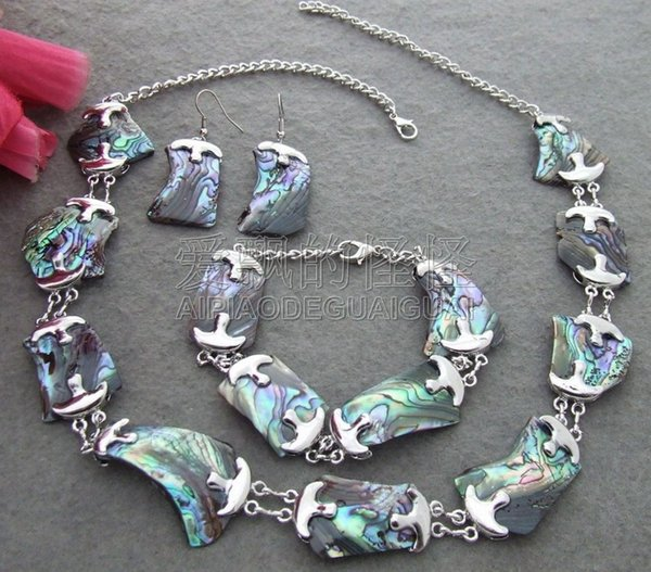 S031011 natural 18x27MM Paua Abalone Shell Necklace Set