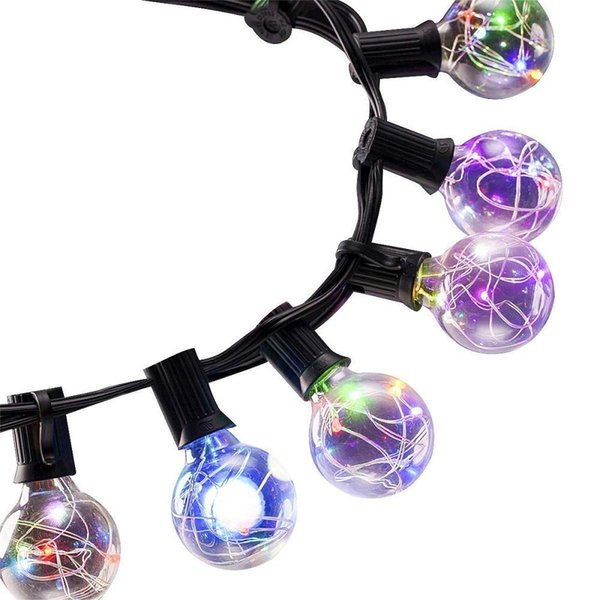 25 LED Globe String Lights G40 Light Bulbs UL Listed 18FT Indoor Outdoor Patio Garden Lawn Use Warm White Multi-color