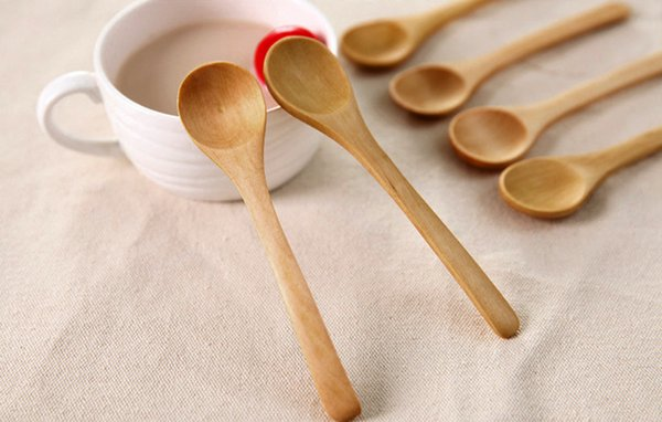 6 Piece Set Bamboo Utensil Kitchen Wooden Cooking Coffee Tools Spoon Spatula Mixing New Condiment Utensil Kids Ice Cream Spoon