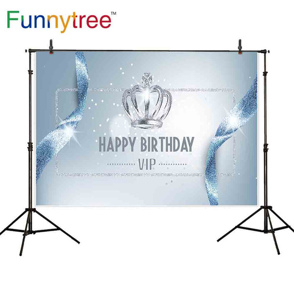 wholesale photography backdrop ribbon silver dots crown vip frame happy birthday shiny fashion simple fantasy background newborn