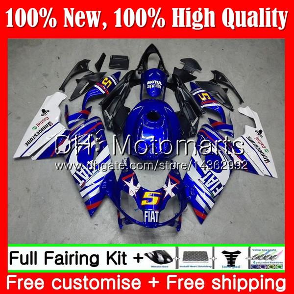 Inyección para Aprilia RS4 RSV125 06 07 08 09 10 11 RS-125 Azul blanco 0MT17 RS 125 R RS125 2006 2007 2008 2009 2010 2011 Fairing Bodywork