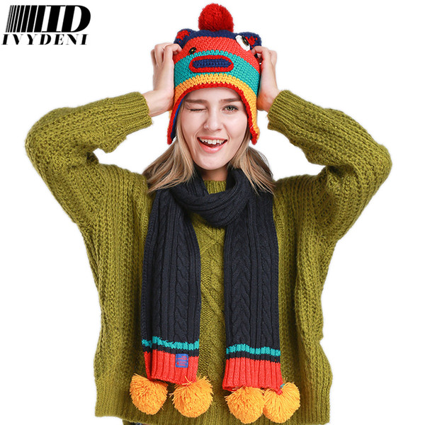 Funny Cartoon Bear/Big Mouth Animal Hat Scarf Sets Winter Warm Crochet Knitted Hat Animal Beanies For Adults Women/Young Girl