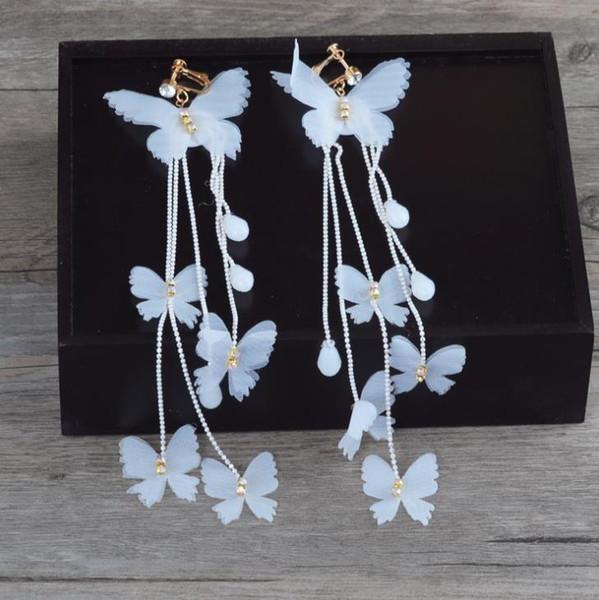 Hand made crystal beads, bride earrings, butterflies, long sage immortal earrings.