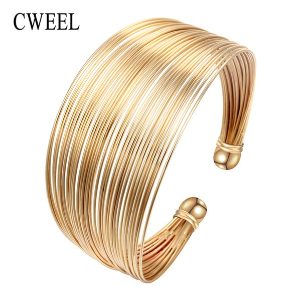 CWEEL Fashion Open Bangles For Women Christmas Gifts Vintage Round Dubai Gold Color Bangles Metal Party Cuff Bracelets Jewelry