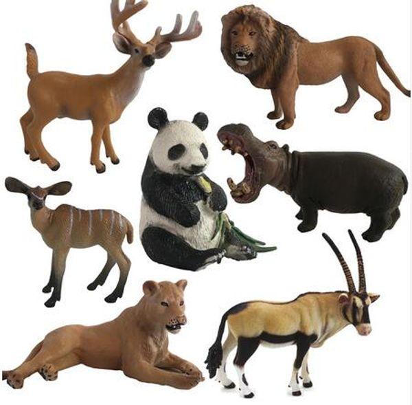 Cute PVC Zoo Animal Figure Gorillas African Cheetah Antelope Panda Kids Model Animals Resin creative accessories die art supplies decoration