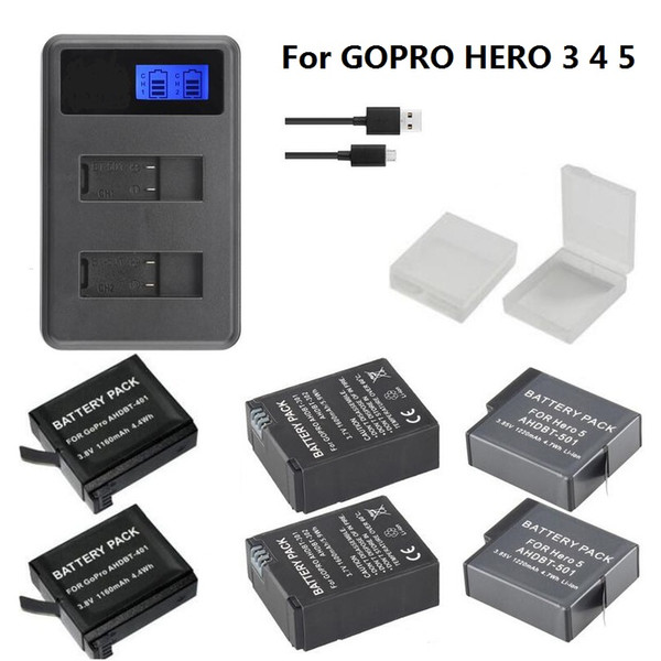 wholesale USB LCD Dual Port Charger 501 401 301 battery Charger for Gopro hero 6 5 4 3 Camera Accessories battery Case Hero3 4 5