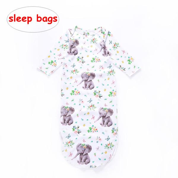 3-6 M Yenidoğan yumuşak Kundak INS Bebek fil çiçek baskı Uyku Çantaları Bebek erkek kız Yatak Kreş çanta