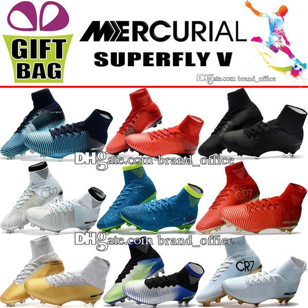 Mens High Ankle CR7 Soccer Cleats Mercurial Superfly FG AG Neymar Soccer Shoes Cristiano Ronaldo Mercurial Superfly V CR7 ACC Football Boots