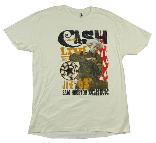 Johnny Cash Live Houston 1963 Creme T Shirt Novo Oficial Merch Suave