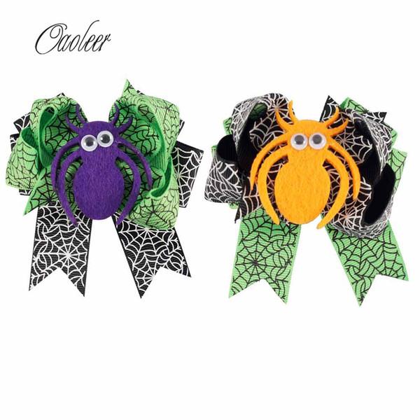 20pcs 3 .5inch Cute Halloween Hair Bow Black And Green Ribbon Spider Hairgrips Kids Hairpins Hair Accessories