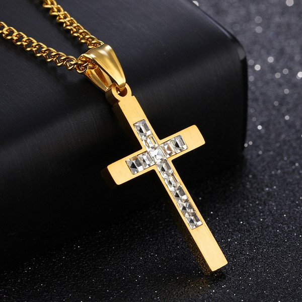 Gold Black Color Fashion Men's Cross Gemstone Zircon Pendant Necklace Stainless Steel Link Chain Necklace Jewelry Gift for Men Boys 1233