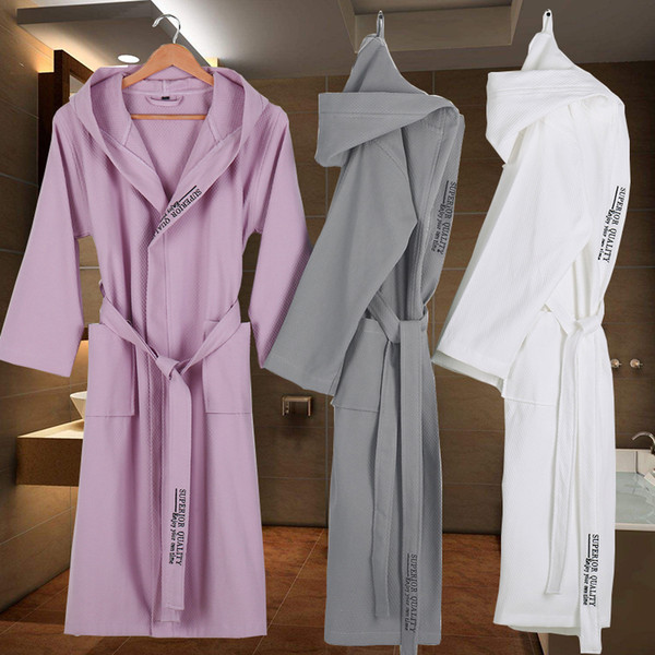 b106ea60cc662 Cotton Bathrobe Men Hooded Dressing Gown Women Long Soft Warm Robe Wedding  Bridesmaid Robe White Grey Color Knee Length Luxury