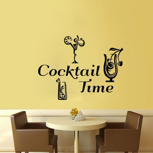 Cocktail Time Wall Stickers Decor For The Kitchen Tile Sticker Waterproof DIY Home Decoration Accessories