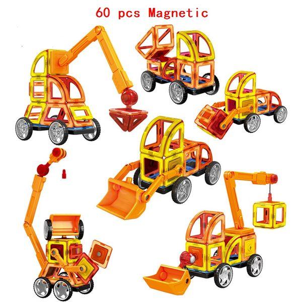 Wholesale-60Pcs/Set Magnetic Designer Building Blocks Models 3D DIY Plastic Creative Bricks Learning Educational Toy Truck Model Best Gift