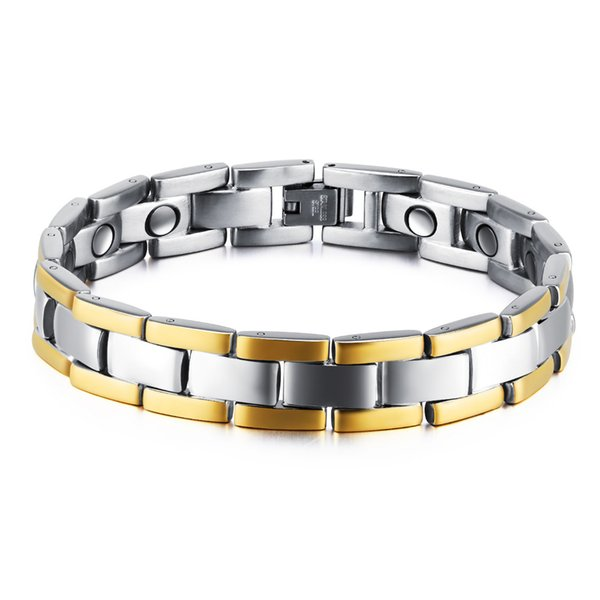 Fashion Healthy Magnetic Bracelet Men Two Tone Stripe Gold Color Link Chain Stainless Steel Charm Punk Energy Jewelry GS874