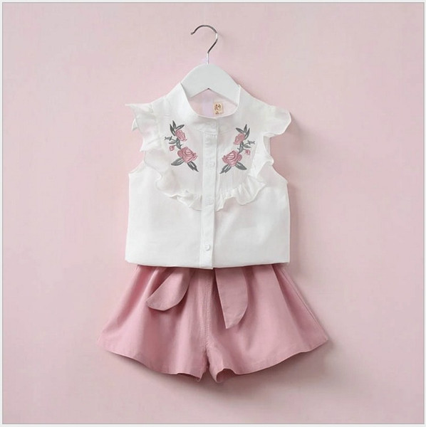 Retail Girls Summer Clothing Sets White Short Sleeve Flower Embroidered Blouse+Waist Belt Shorts 2pcs Set Girl Suit Children Kids Outfits