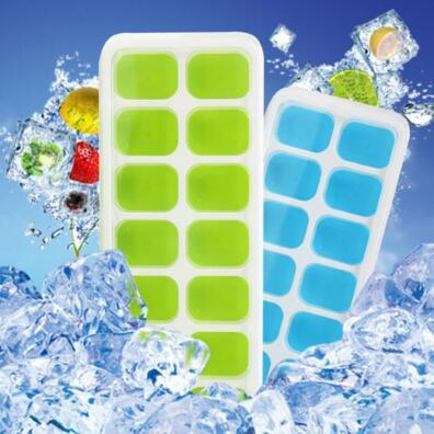 best selling 2 Colors 14-Hole Silicone Ice Cube Mold Tray with Rectangle-shape Ice Jelly Moulds with Lid Ice Cream Tools CCA9619 60pcs