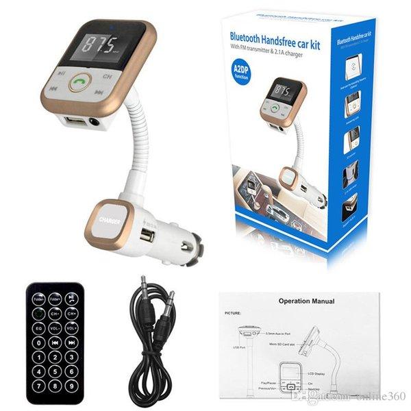 BT67 Bluetooth Car Kit FM Transmisor LCD Reproductor de MP3 Manos libres Adaptador inalámbrico de radio Cargador USB + Control remoto con paquete al por menor