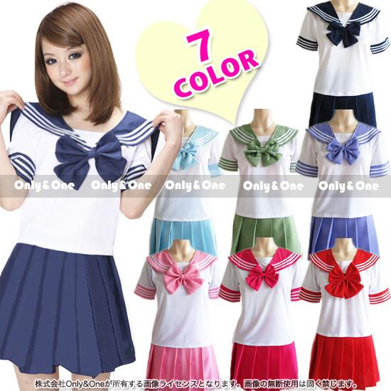 Korean School uniform for girls 7 color Japanese students sailor suit Summer Ruffly T Shirt + skirts Cosplay Costumes for women