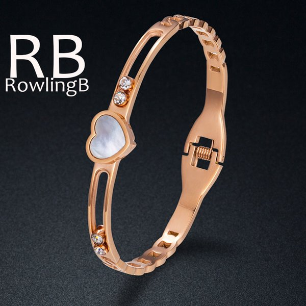 Women Titanium Steel Bracelets Bangle Rose Gold Rhinestone Shell Bracelets Fashion Jewelry
