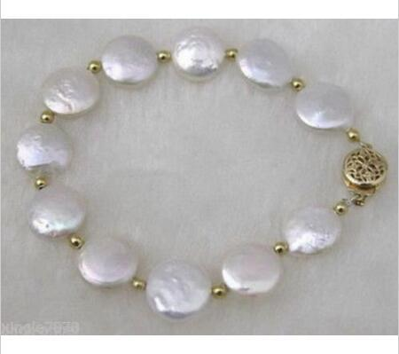 Genuine Charming! 12-13mm White Button Coin Pearl White Bracelet 7.5""
