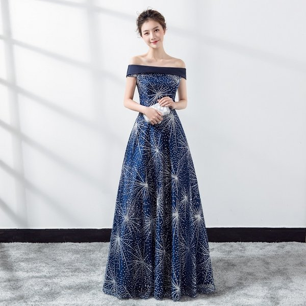Moda azul festa à noite cheongsam dress strapless longo qipao mulheres sexy cheongsam moderno chinês robe feminino vestido