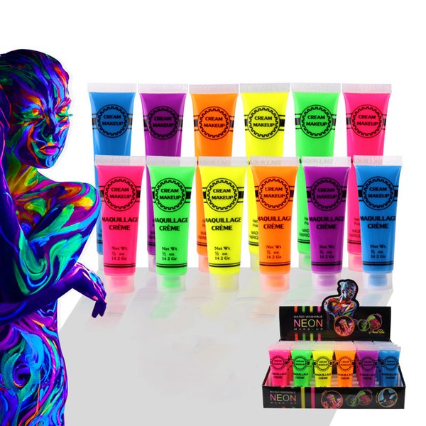 IMAGIC Neon UV Bright Face Body Paint Fluorescent Rave Festival Painting 13ml Halloween Professional Painting Beauty Makeup Free DHL