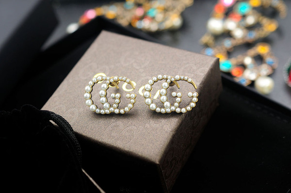 Factory Price High Quality Luxury Letter Pearl diamond Stud Earrings Fashion Bee insect metal earrings With Box
