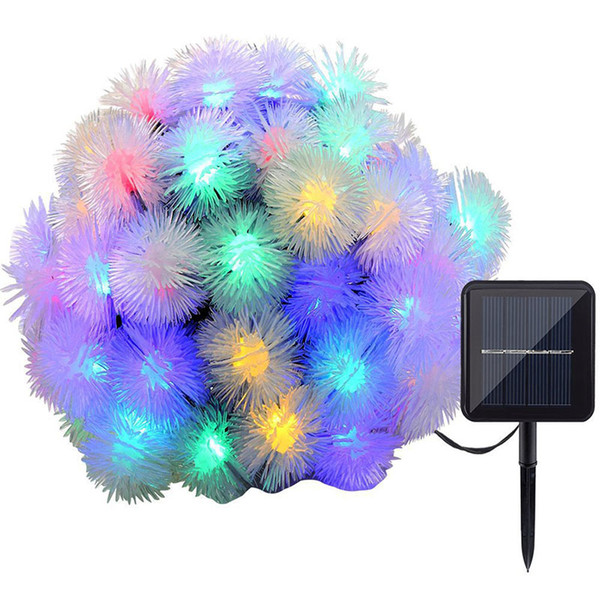 Solar String Lights 19.7ft Multi-Color 30 LED Puffer Ball Water Drop Shape Waterproof Solar Christmas Lights for Home Wedding