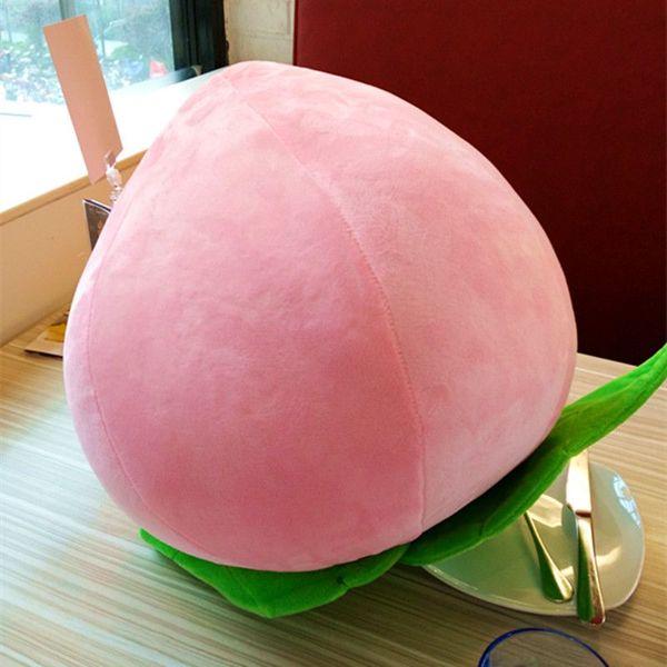 Dorimytrader Kawai Emulational Pink Peach Plush Toy Big Stuffed Realistic Fruit Pillow Game Doll Decoration for Kid Gift 40cmDY61244