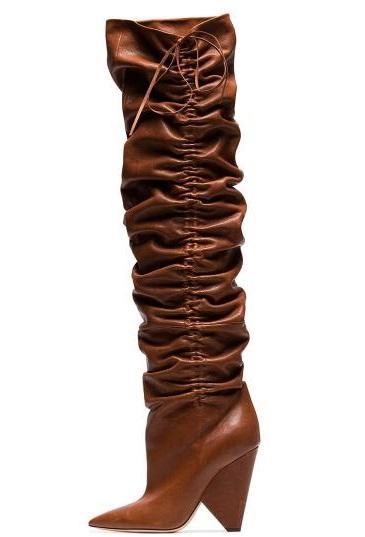 Autunno Nuove donne di marca tinta unita marrone cioccolato cono pieghevole tacchi a punta in pelle sopra il ginocchio coscia stivali lunghi big size Lady