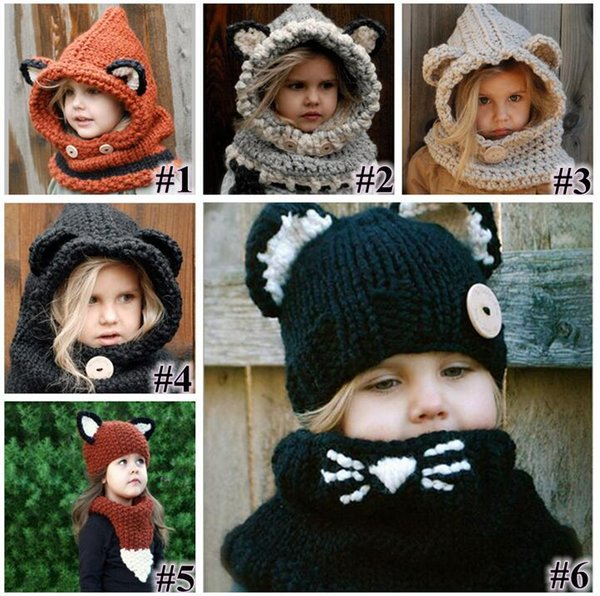 6 Styles Girls Hats Scarf Cat Fox Ear Baby Knitted Winter Kids Boys Girls Warm Shapka Caps Children Beanies Accessory CNY658