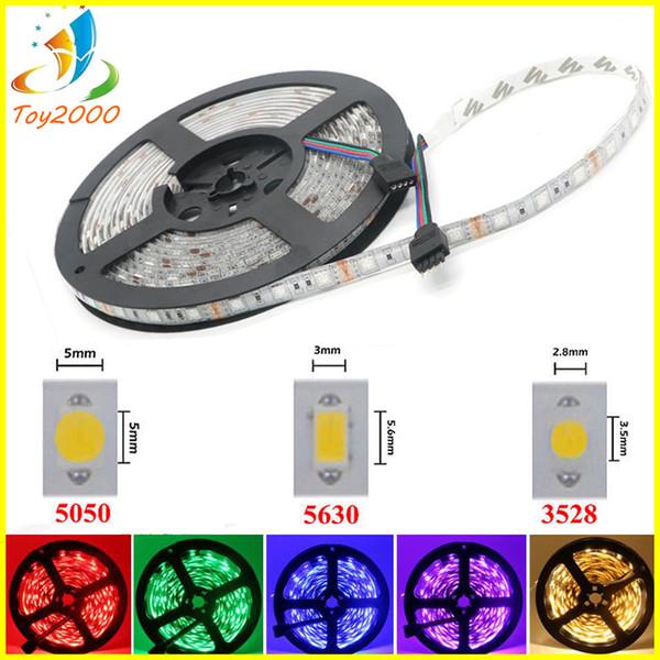 LED Şerit Işık 12 V SMD3528 5050 5630 300led Şerit Olmayan su geçirmez Şerit Için Esnek şerit Ev Bar Dekor Lampada Led 5 M / rulo RGB