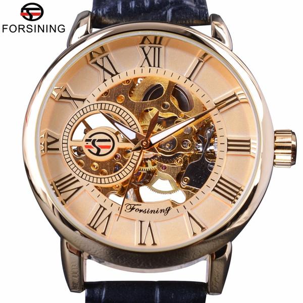 x Forsining Roman Rétro Série 3D Logo Designer Hommes Montres Mécaniques Top Marque De Luxe Squelette Mâle Or Montre-Bracelet Horloge Hommes