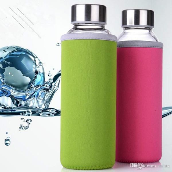 Großhandels-500ML Kreative tragbare Tasse für Männer und Frauen Reisen Auto Glas Transparent Office Cup mit Deckel Scrub Portable Space Cup Bike