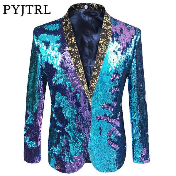 PYJTRL S-5XL Tide Uomo doppio vestito paillettes paillettes punk discoteca bar moda DJ flip paillette blazer costumi di scena cantante